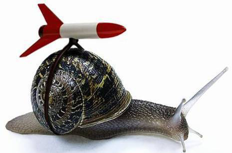 No rocket's going to move this snail very soon